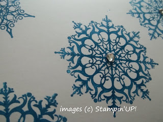 Close-up of the Rhinestones on a One-layer Card made with Stampin'UP!'s Snowflake Soiree Stamp Set.