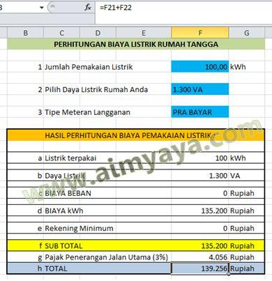 Gambar: Perhitungan Biaya Pemakaian Listrik Menggunakan Microsoft Excel