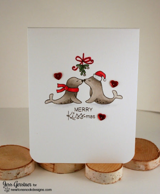 Seal Christmas Card by Jess Crafts featuring Newton's Nook Designs Holiday Smooches