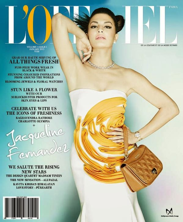 Jacqueline Fernandez on The Cover of L'Officiel Magazine India January 2015