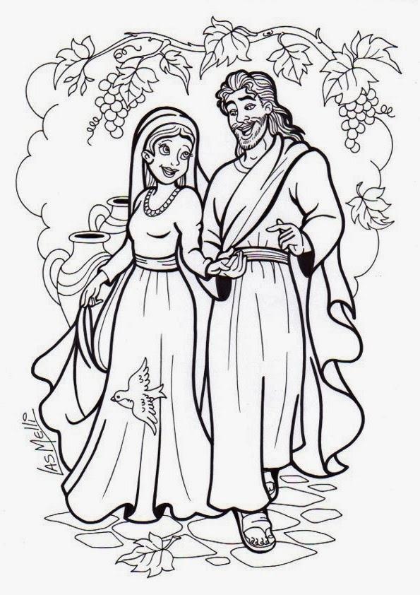 Colorea a Jesús y a María en Caná