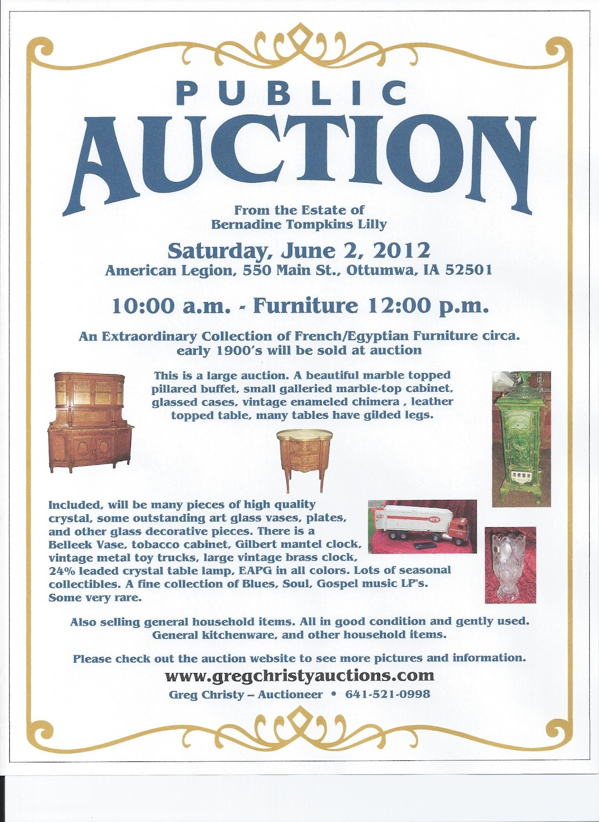 greg christy auctions your iowa antiques auctioneer i can sell moment to print out the flyer for a hard copy to help you get there be sure to check out my website for more information and pictures it s right here