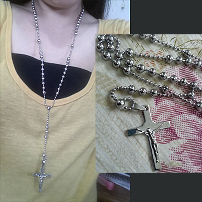 stainless rosary necklace