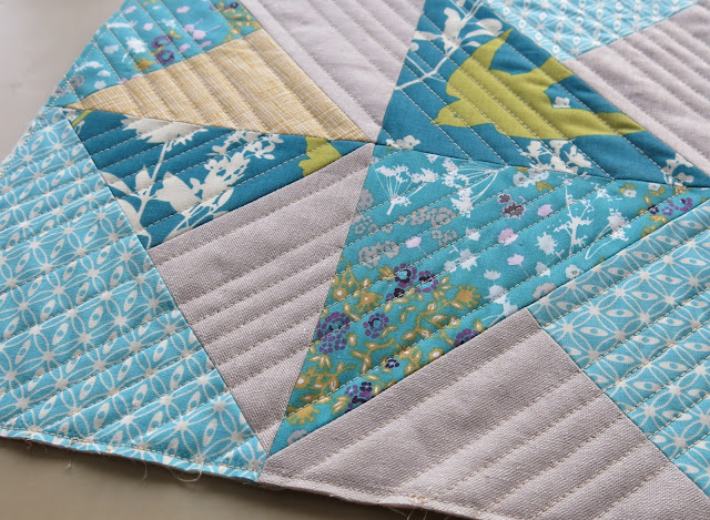 Teal and mustard yellow quilted cushions - Straight lines quilting