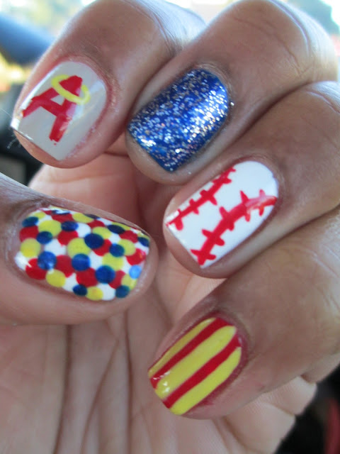 Angels, baseball, halo, blue, red, yellow, polka dots, stripes, nail art, nail design, mani