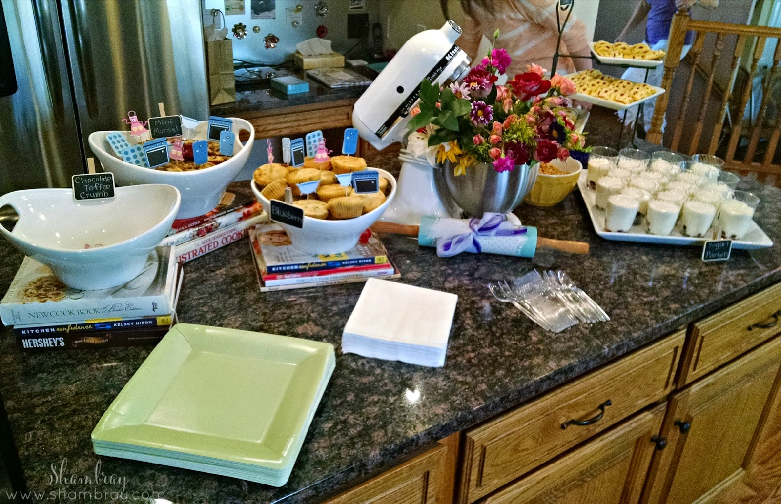 bridal shower, muffins, strudels, yogurt