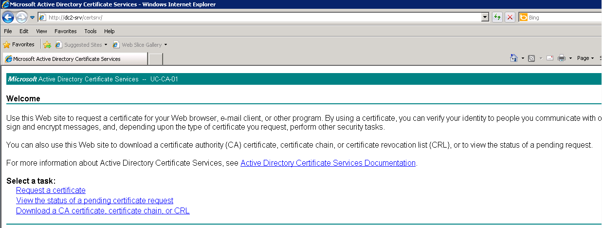 Kevin greene it blog using internal certificates with scom on on the microsoft certificate services welcome page click request a certificate on the request a certificate page click or submit an advanced certificate yadclub Images
