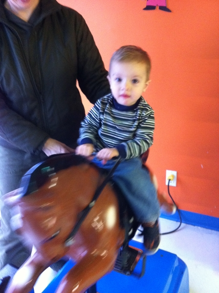 horsey ride post-cut helped soothe the traumatized boy