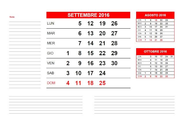Calendario mensile 2016 - settembre