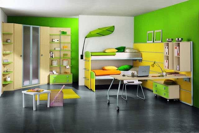the-Amaze-Modern-Kids-Rooms-Ideas-With-Green-Wall-Cupboard-Bedroom-Wooden-Table-Study-Table-White-Chair-Furniture-Yellow-And-Green-Pillows-With-Innovative-Ikea-Kids-Room-Design