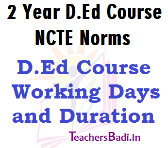 DEd Course, Working Days, Duration