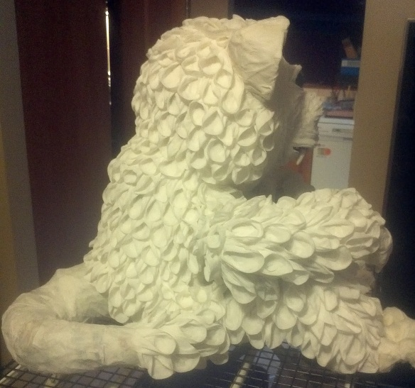 Crafty little beanut paper mache teddy dragon for Things made out of paper mache