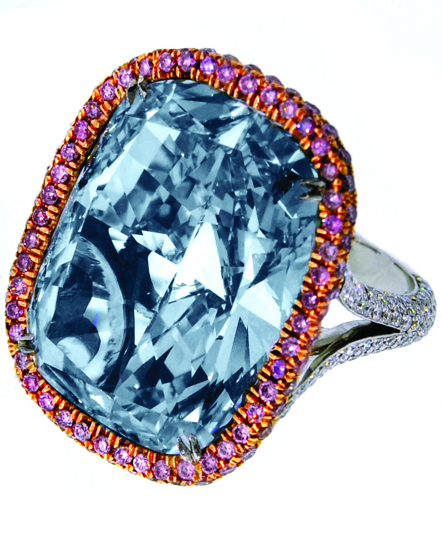A 3011ct Natural Fancy Blue Gray Cushioncut Diamond Mounted On A  Platinum Setting The Vvs2 Clarity Diamond Is Surrounded With 414 Diamonds  In A