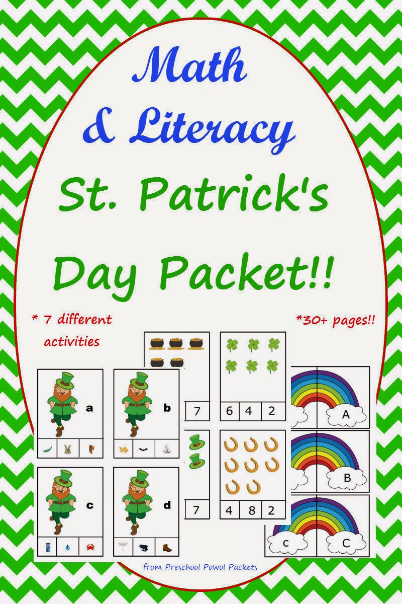 free st patrick u0027s day preschool patterns preschool powol packets