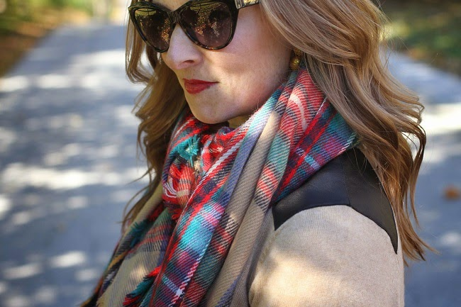 merona scarf, club monaco sweater, madewell heels, michael kors handbag, saint laurent sunglasses,