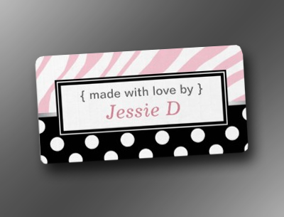 Black Polka Dot Pink Zebra Print Baking Labels