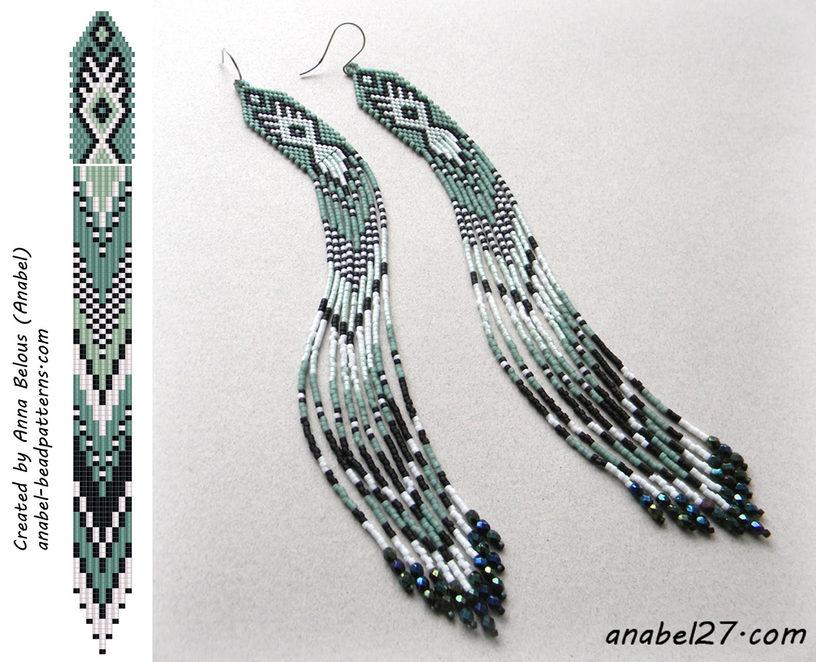 схема сережек из бисера мозаика кирпичик seed bead earrings pattern