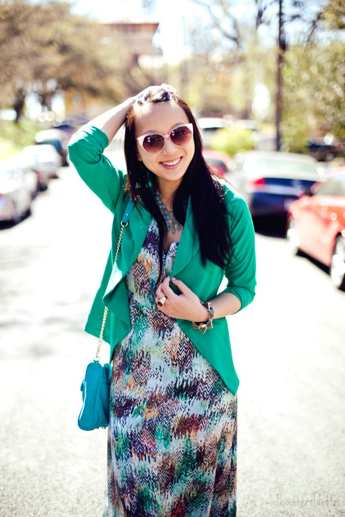 go jane green blazer, rebecca minkoff mac bag, jewelmint bracelet and rings, lulu's printed maxi dress, austin street style, austin fashion blog