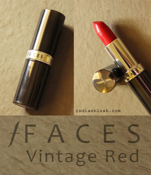 FACES Glam On Vintage Red Lipstick for wheatish dark skin