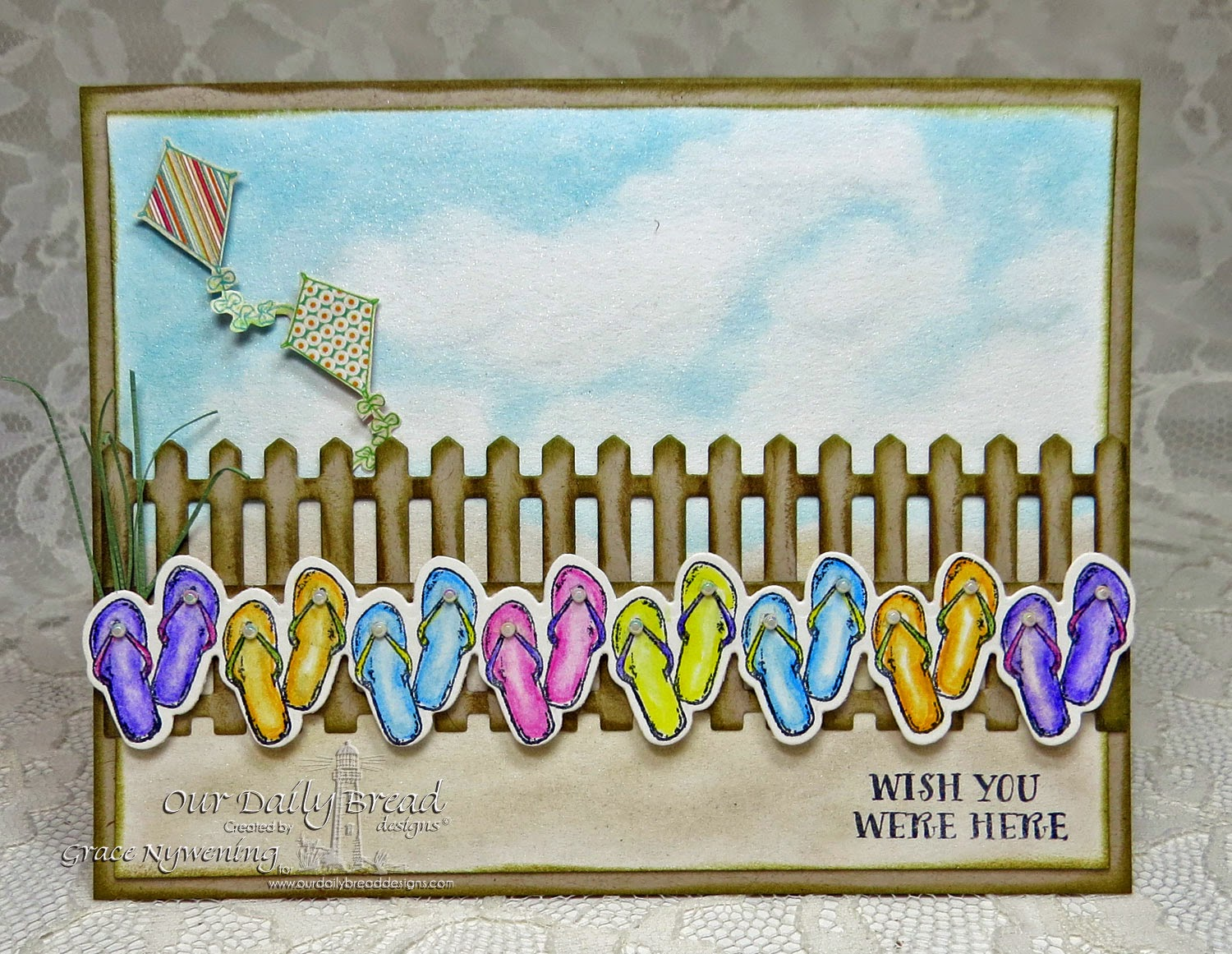 ODBD stamps: Flip Flop Border, Life is Better, designed by Grace Nywening