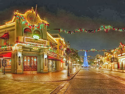 Disney Streets Decorated with Lights for Xmas
