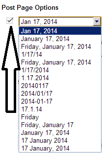 selection of date for posts