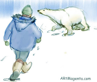 Confronting a polar bear is a sketch by artist and illustrator Artmagenta