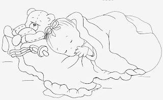 desenho bebe menina dormindo com cobertor e ursinho para pintar
