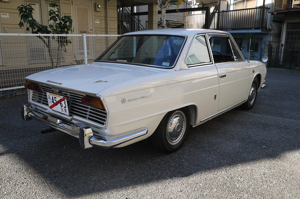 white car, back, Hino Contessa, klasyk z japonii, zdjęcia, クラシックカー