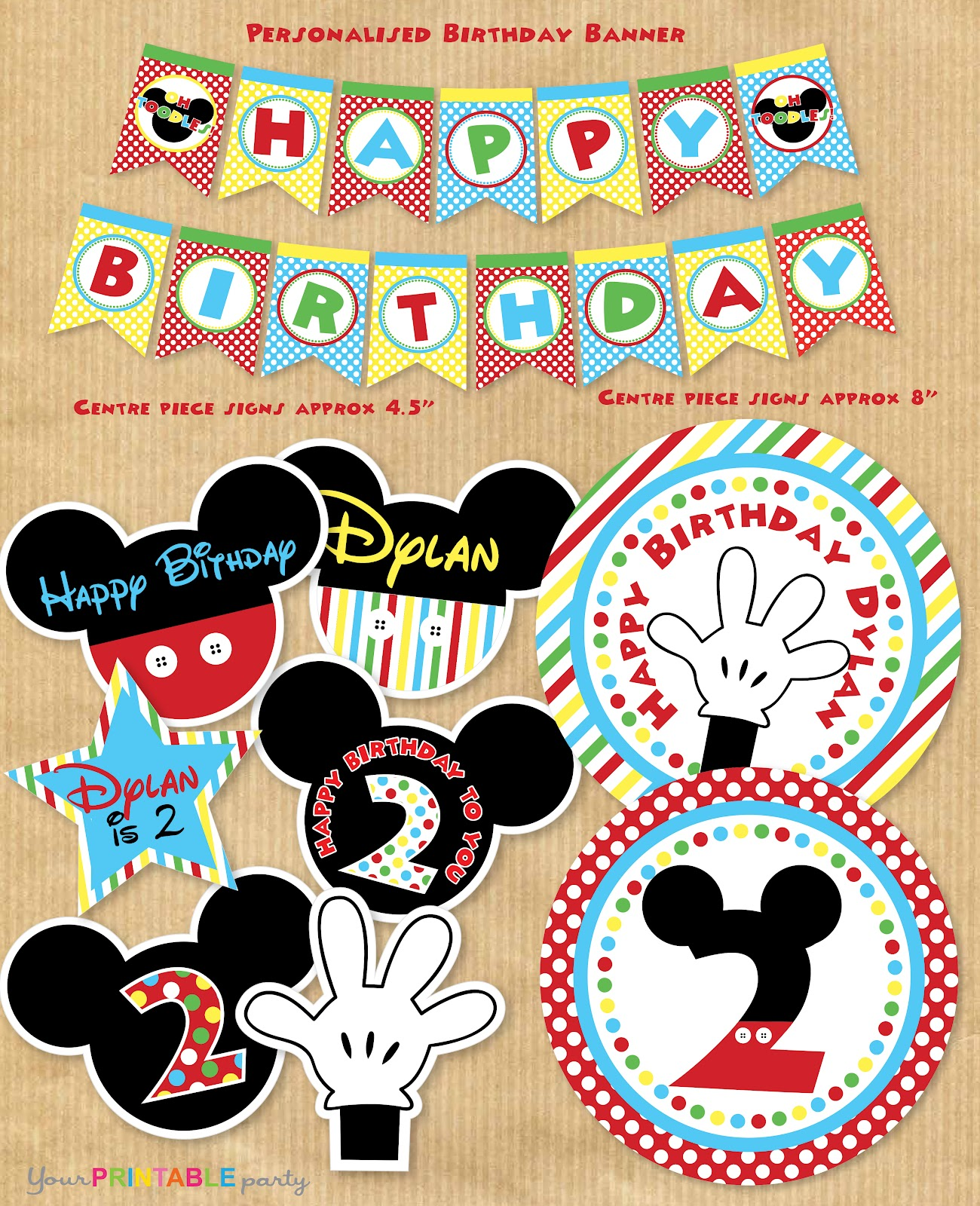 your printable party mickey mouse party package. Black Bedroom Furniture Sets. Home Design Ideas