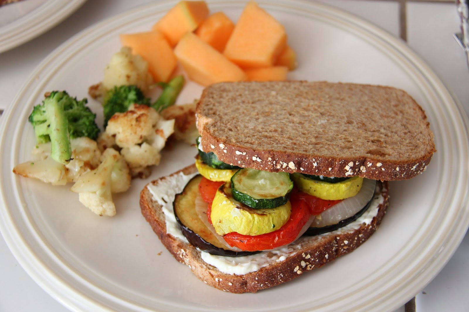 grilled veggie sandwich with garlic spread