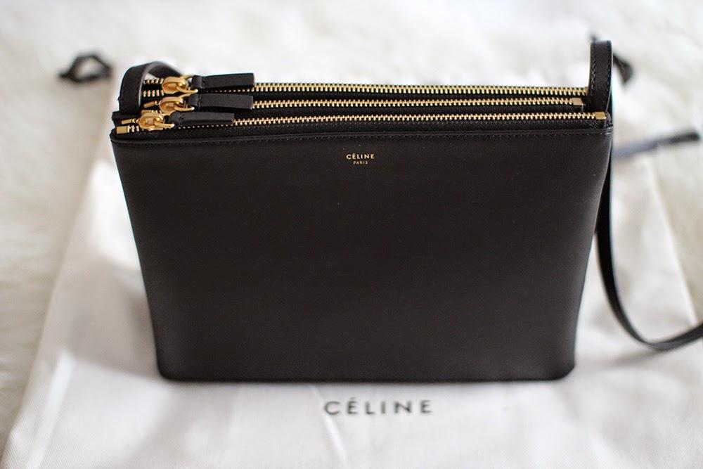 celine trio leather clutch