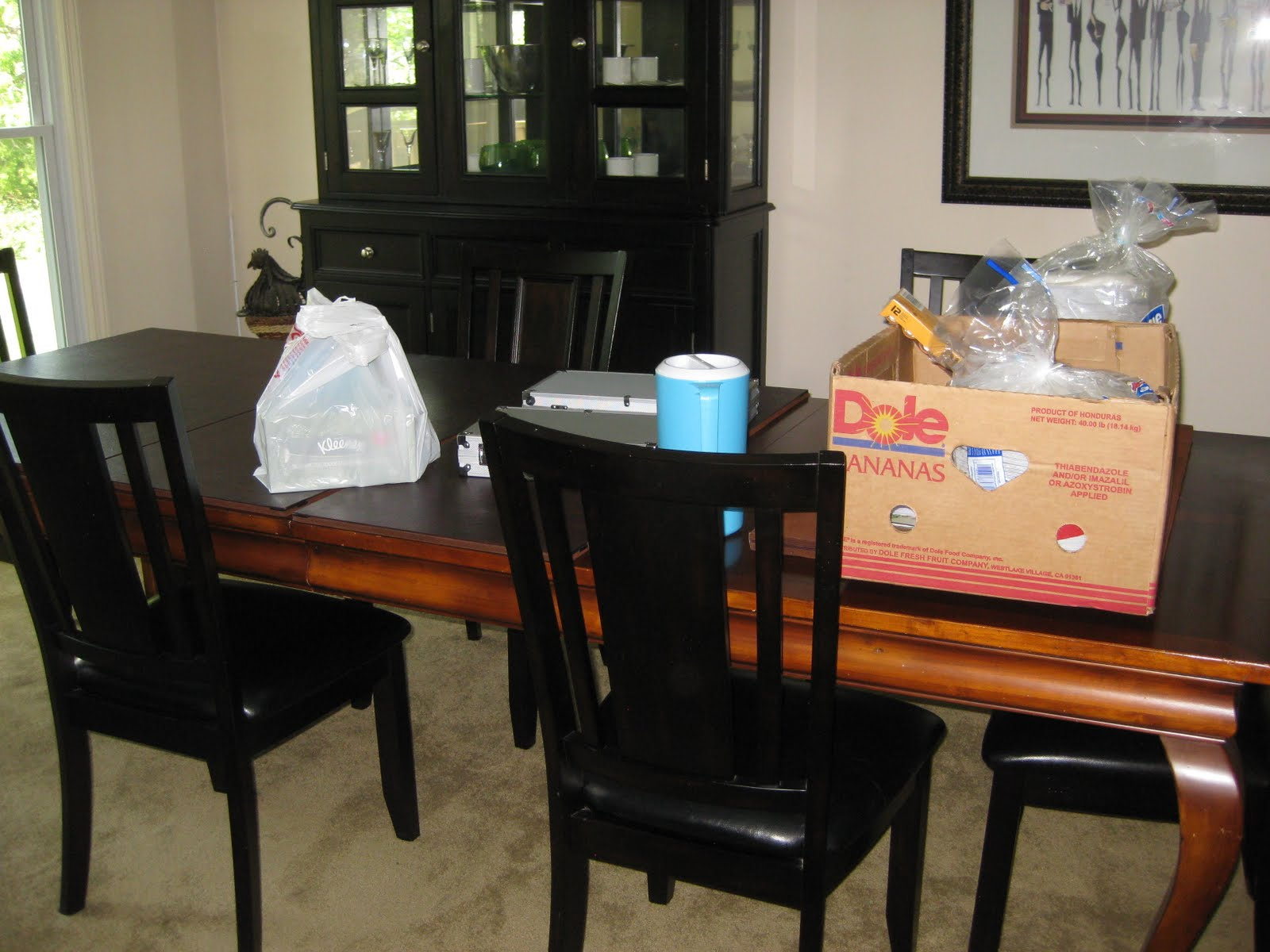 Dining Room Still Set Up From Poker Night Last Friday And Boxes Jesses Trip To Costco Which I Need Find A Place Put Stuff Away