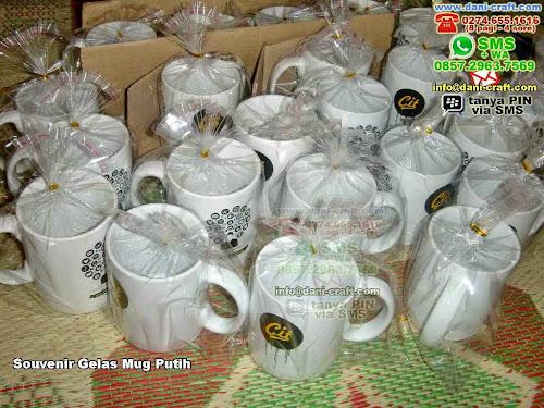 Souvenir Gelas Mug Putih Gelas Beling Jakarta