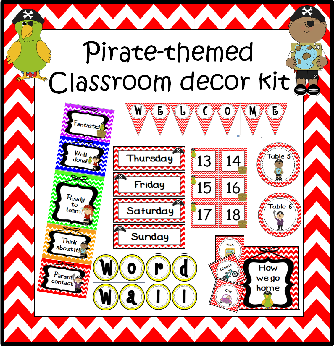 Classroom Decor Kit ~ A crucial week pirate classroom decoration set