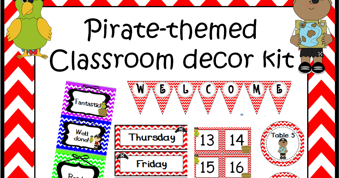 Classroom Decor Kit ~ A crucial week pirate classroom decoration set