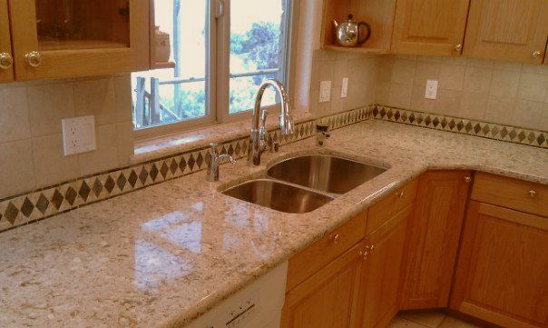 Granite Countertops Costco : ... matching granite material, and went about designing their backsplash