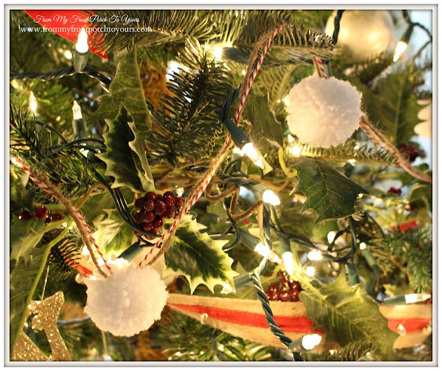 Farmhouse Christmas Tree-DIY- Pom Pom Garland-From My Front Porch To Yours