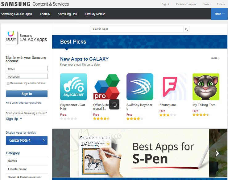 Samsung Apps Mobile