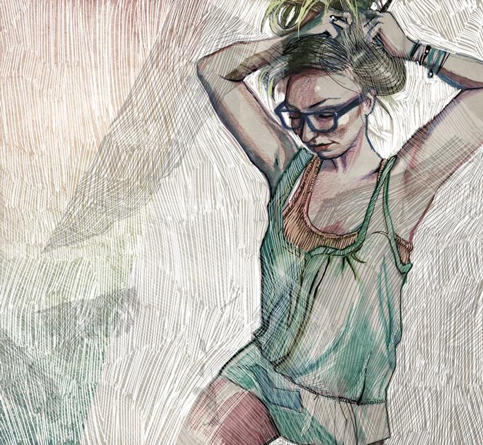 urbaniak ilustracje illustrations woman dressing up