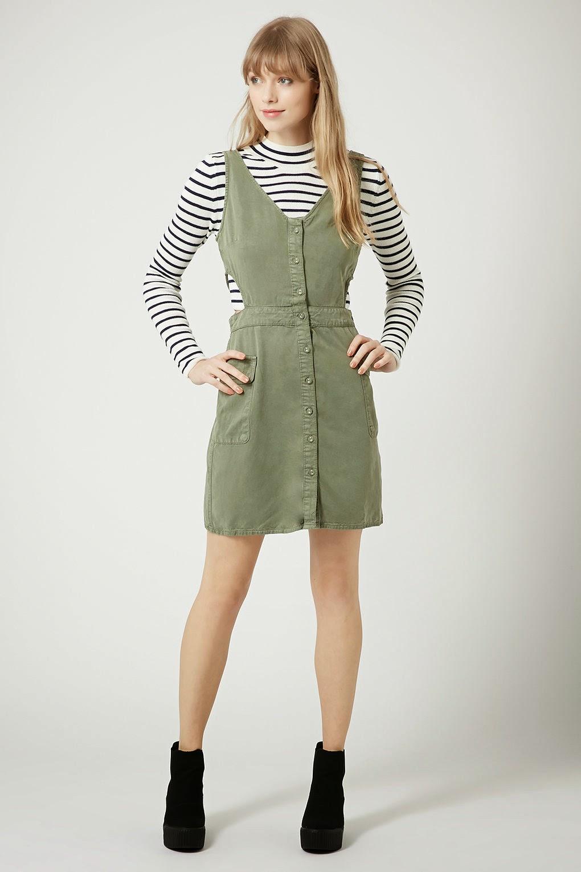 khaki pinafore dress
