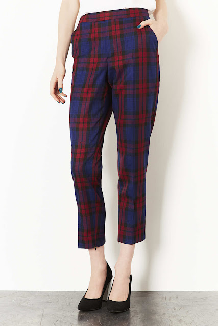 red blue check trousers