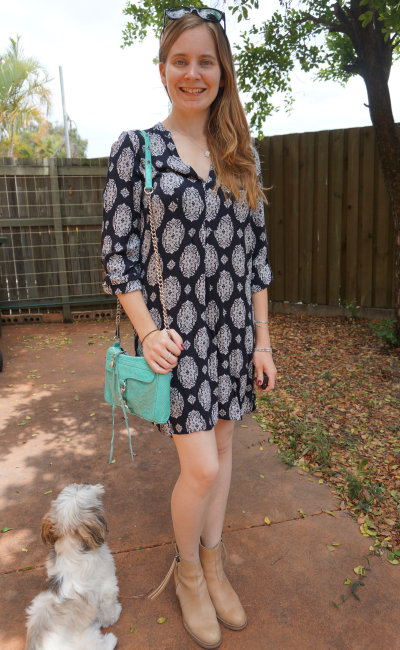 Zara printed tunic dress RM mini MAC Acne Pistol boots spring outfit Queensland