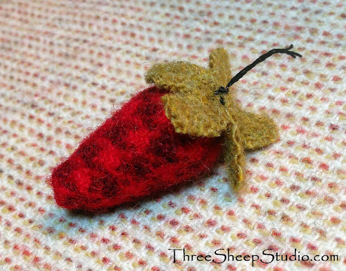 Tiny Wool Strawberry - ThreeSheepStudio.com