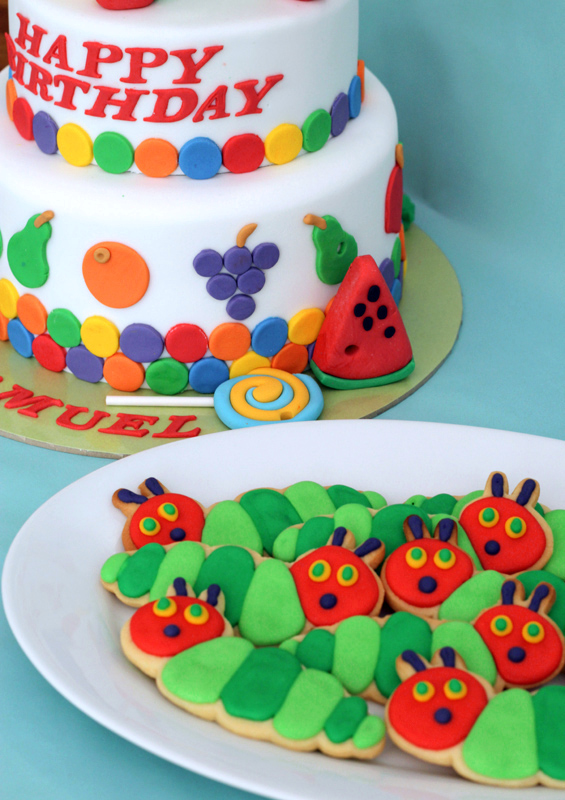 butter hearts sugar Very Hungry Caterpillar Cake and Cookies