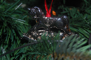 Silver horse for the Christmas tree, each bauble should have a memory and a story behind it.