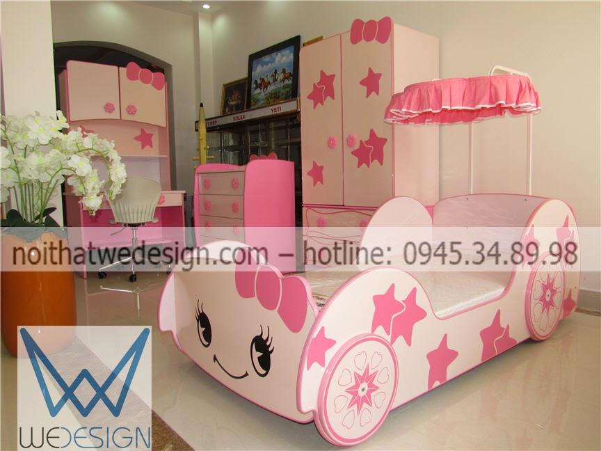 Phòng ngủ ô tô màu hồng dễ thương cho con gái