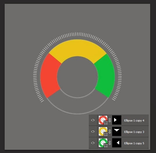 add tow more circles with different colors, and mask them