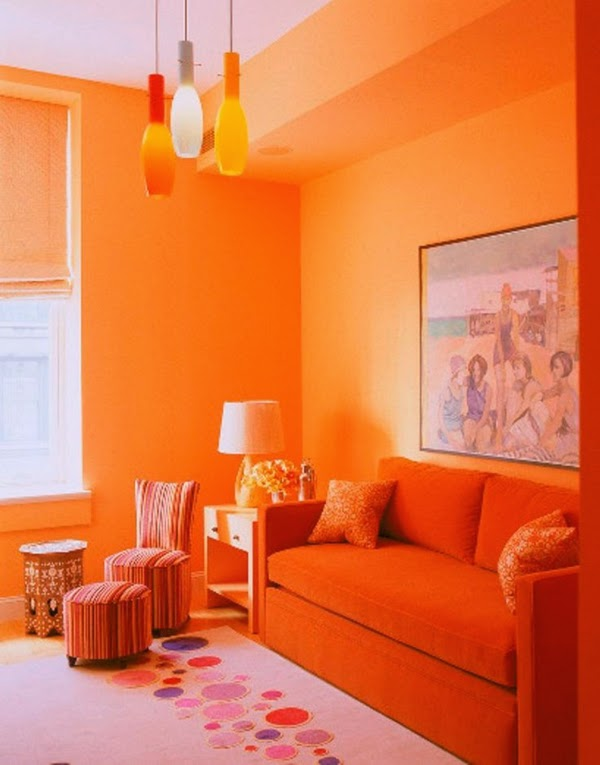 Salas decoradas en naranja colores en casa for Decoracion para pared naranja