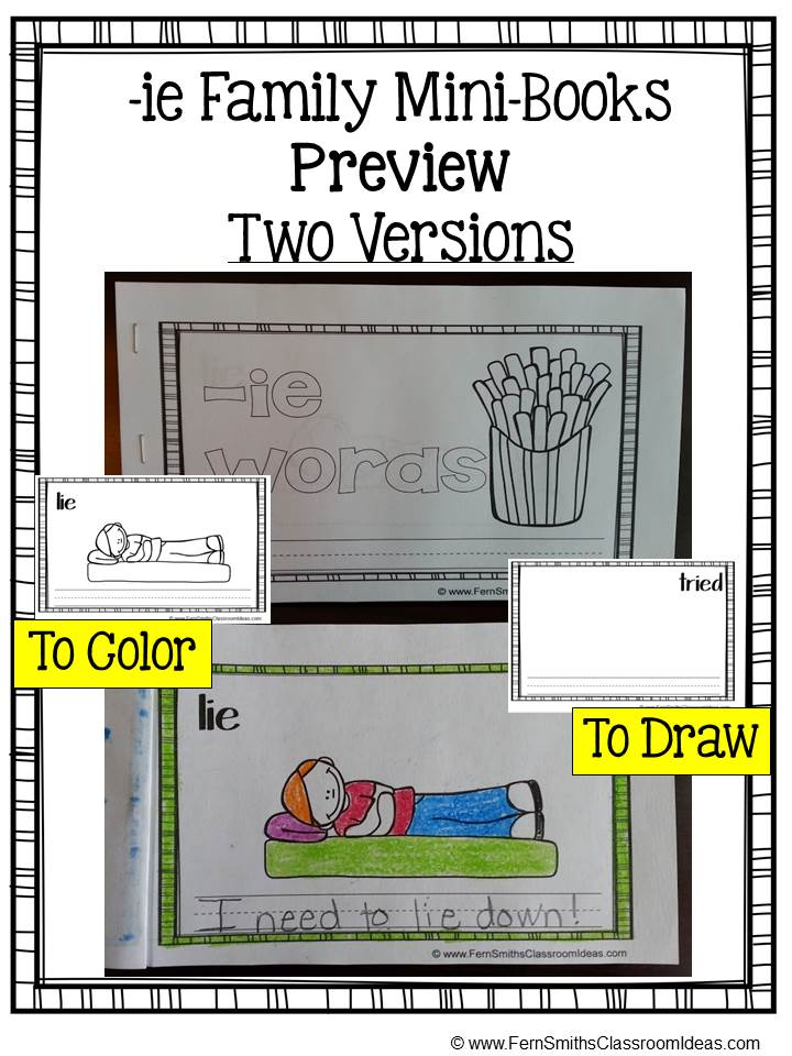 Fern Smith's FREE Sampler Printable Phonics Mini-Books for the -ie Family